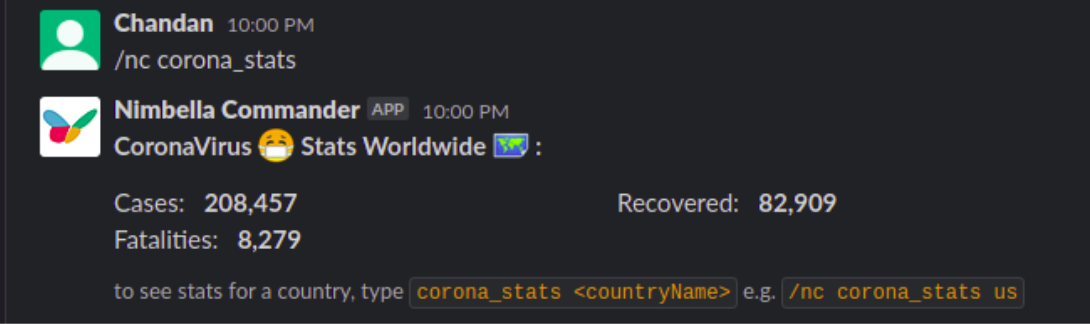corona stats being displayed in slack with nimbella commander