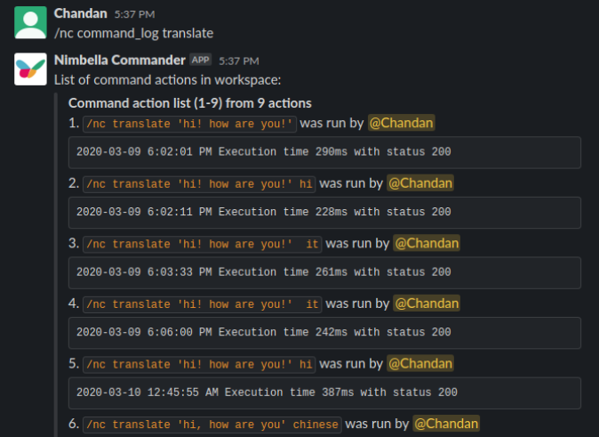 translate slack commander command log